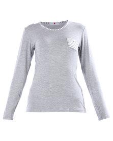 Poppy Divine Striped Pyjama Top Grey