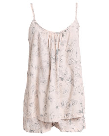 Poppy Divine Rayon Nude Rose Print Strappy Sleepwear Set