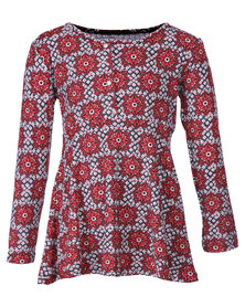 Precioux Fit and Flare Dress Top Red and Black