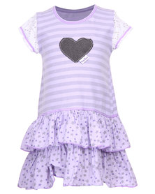 Precioux 2 Tier Dyed Dress Lavender