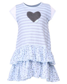 Precioux 2 Tier Dyed Dress Blue