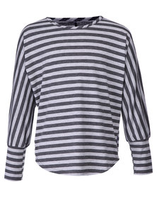 Precioux Long Sleeve Top with Stripes Grey