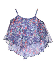 Precioux Autumn Floral Hanky Top Purple