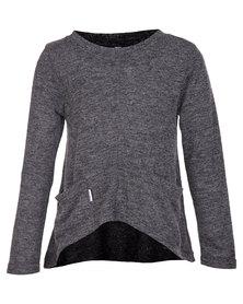 Precioux Knit Pocket Top Charcoal