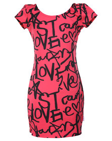 Precioux Scuba Dress Pink/Black
