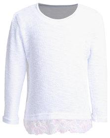 Precioux Lace Trim Sweater White