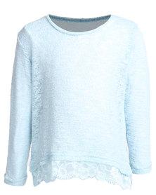 Precioux Lace Trim Sweater Blue