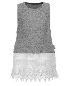 Precioux Soft Rib Tank Top with Victorian Lace Hem Grey
