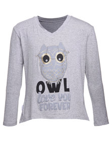 Precioux Print Long Sleeved Top Grey Melange