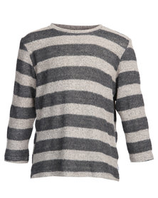 Precioux Baggy Sweater Top Grey