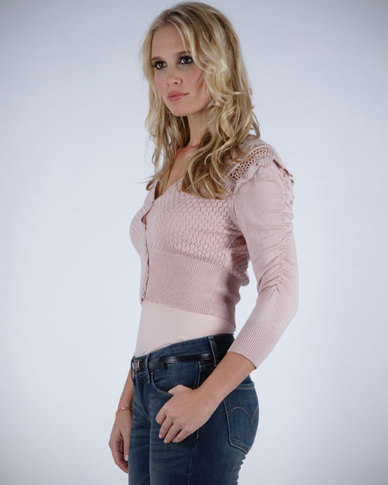 Pull-It Lace Detail Cardigan Powder Pink