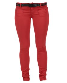 Pull-It Skinny Woven Trousers Red