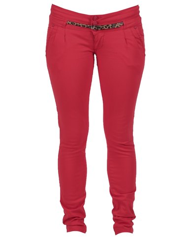 Pull-It Skinny Fit Trousers Red