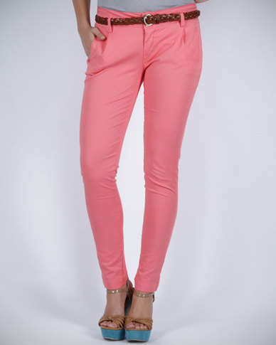 Pull-It Skinny Leg Trousers Pink