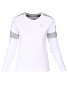 Puma Fabric Mix Crew Neck Sweatshirt Neck White