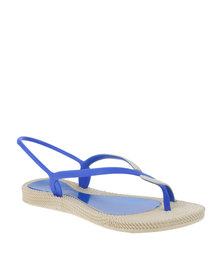 Q Surf Slingback Toned Toe Thong Flat Sandal Blue