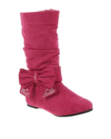 QQ GIRLS Mid Boot With Bow Pink