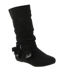 QQ GIRLS Mid Boot With Bow Black
