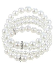 Queenspark Diamante & Pearl Multirow Bracelet White