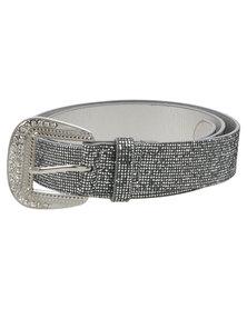 Queenspark Classic Lurex Belt Silver