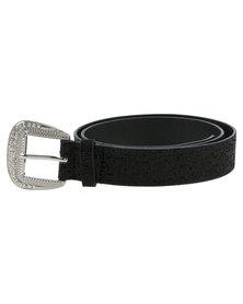 Queenspark Classic Lurex Belt Black