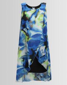 Queenspark Plus Layered Woven Big Flower Dress Blue