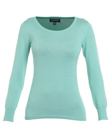 Queenspark Long Sleeve Round Neck Jersey Mint