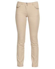 Queenspark Woven Denim Jeans With Diamante Details Natural