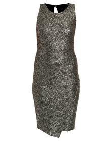 Queenspark Cath.Nic Gold Print Sleeveless Knit Dress Gold
