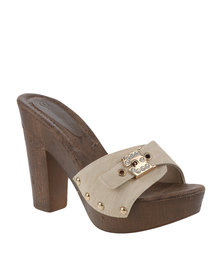Queenspark High Heel Clog With Buckle Natural
