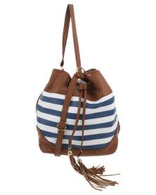 Queenspark Striped Drawstring Bag Blue