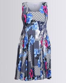 Queenspark Flared Printed Spot Floral Knit Dress Multi