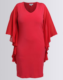 Queenspark New Flatter All Knit Dress Red