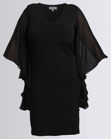 Queenspark New Flatter All Knit Dress Black