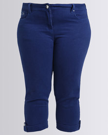 Queenspark Swirl Embroidered Denim Capri Blue