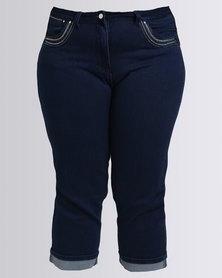 Queenspark Pocket Detail Denim Capri Blue