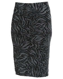 Queenspark Glamour Paste Knit Skirt Black