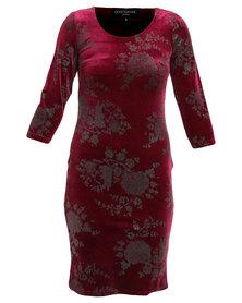Queenspark Glitter Velour Knit Dress Red