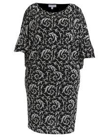 Queenspark Plus Collection New Glitter Evening Sensation Knit Dress Black