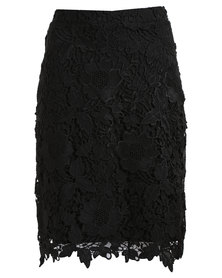 Queenspark Glamour Lace Woven Skirt Black