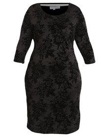Queenspark Plus Collection Flocked Floral Knit Dress Black