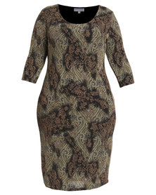 Queenspark Plus Collection Printed Glitter Knit Dress Bronze