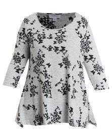 Queenspark Plus Collection Handkerchief Cashmillon Knit Tunic Grey