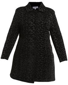 Queenspark Plus Collection Flocked Woven Coat Black