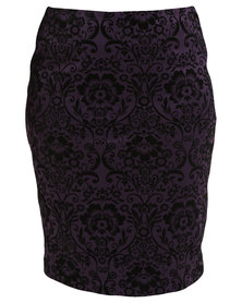 Queenspark Plus Collection Flocked Neoprene Knit Skirt Purple/Black
