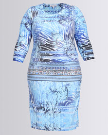 Queenspark Plus Bluebell Beaded Knit Glamour Dress Turquoise