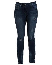 Queenspark Woven Fashion Denim Jean With Rip+Repair Detail Blue