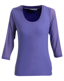 Queenspark Mesh 3/4 Sleeve Core Knit T-shirt Purple
