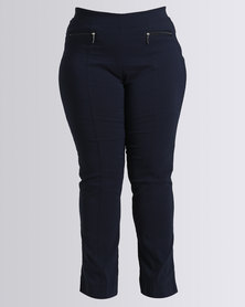 Queenspark Plus Collection New Knit Pull On Zip Woven Pant Navy