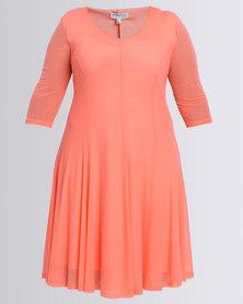 Queenspark Plus New Flared Mesh Knit Dress Orange